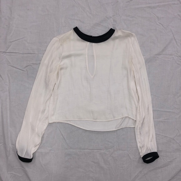 Zara Silky Blouse with Faux Leather Detail